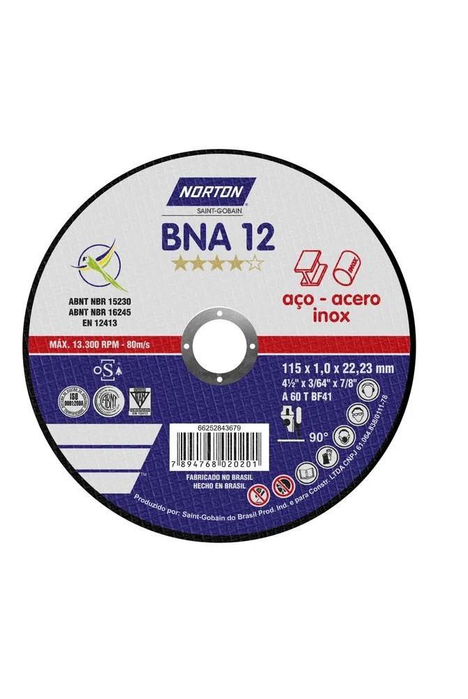 Disco de corte BNA 12 - 115 x 1,0 x 22,23