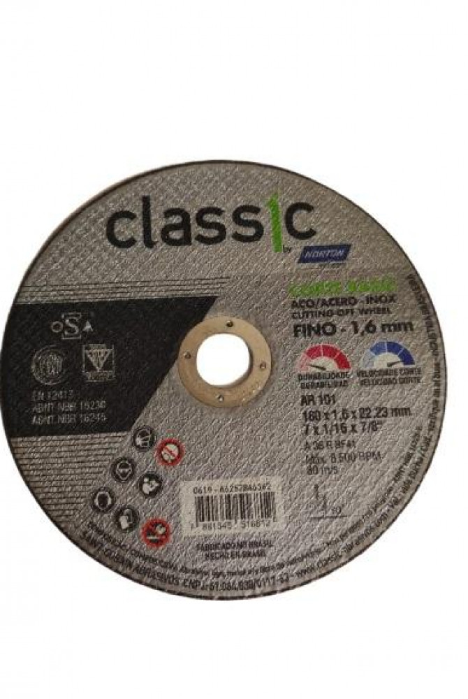 Disco de Corte para Inox AR101 Classic Norton 180 x 1,6 x 22,23